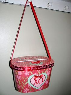 Valentine Card Holder made from an ice-cream container