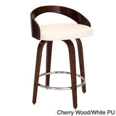 LumiSource Grotto Faux Leather Mid-century Modern Counter Stool (Grotto Counter Stool with Cherry Wood/White PU)