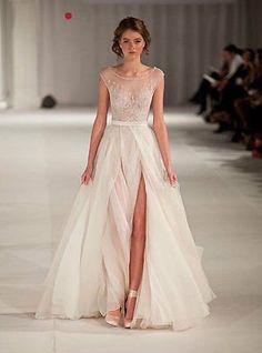 2015 White New Custom Size Bridal Gowns Appliqued Chiffon A-Line Wedding Dresses