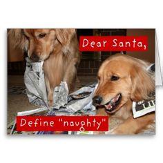 Golden Retriever Define Naughty Christmas Cards