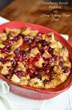 Cranberry Bread Pudding with Honey Whiskey Maple Sauce | from willcookforsmiles.com