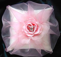 ateliersarah's ring pillow/wrapped in pink organdy