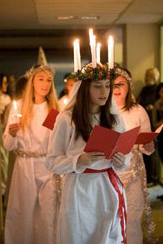 St.Lucia day is December 13th. I never got to be upfront with the candles on my head
