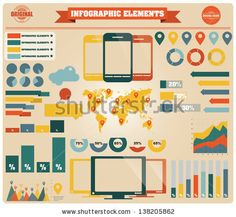 Collection of infographics elements, vector illustration