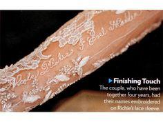 Nicole Richie & Joel Madden wedding - embroidered names on sleeve