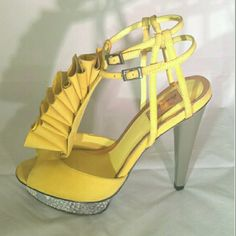 """""""TOPSHOP BOUTIQUE""""  Heels Topshop Boutique Passion Yellow Frills Genuine Leather and Suede heels with a genuine snakeskin platform. Strappy ankle straps. Peep toe. Heels 5"""". Gently used. The yellow suede shows a lil sign of wear around the peep toe area. See last pic. Topshop Shoes Heels"""