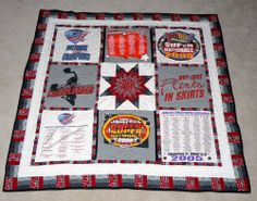 T-shirt quilt - cheerleader theme I LOVE this and would like to do this with some of my old cheer shirts from high school and some of the new ones I have from coaching.