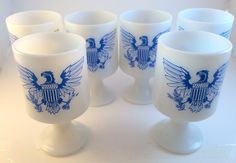 American Eagle Patriotic Blue Federal Opaque Milk Glass Footed Pedestal Mugs 6