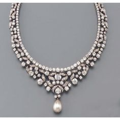 Convertable diamond and pearl necklace.