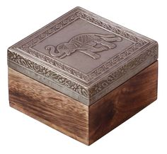 """Bulk Wholesale Handmade 4"""" Wooden Square Jewelry Box in Silver & Natural-Wood Color with Traditional-Look Carving of Elephants on Metal Sheet – Ethnic-Look Boxes from India"""