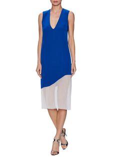 Silk Asymmetrical Colorblock Shift Dress by Prabal Gurung at Gilt