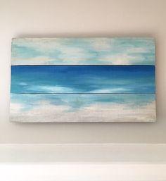 Reclaimed Wood Ocean Painting Beach Art by InspiredSoulShop