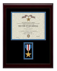 "13-1/2"" x 18"" Silver Star Frame Display $110.00   (http://www.militarymemoriesandmore.com/silver-star-certificate-frame/)"