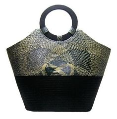 Elizabeth - She's a Buntal bag with black, gray and natural color combination. Topped with round wooden handle. http://www.mynativebags.com/