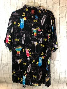 1921e1b74 Junction West Hawaiian Shirt Cocktail Lounge Black Multicolor Size XL New |  Clothing, Shoes &