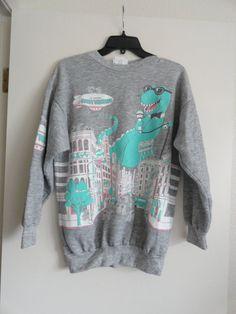 DINO DUDE Party Animal Sweatshirt - Vintage Dinosaur Hipster Sweater on Etsy, $15.00