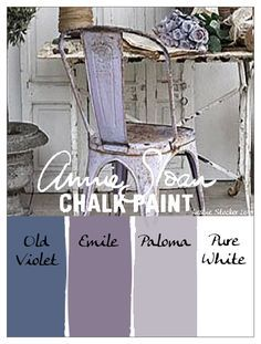 Color idea - COLORWAYS A lovely English Lavender can be created by layering Annie Sloan Chalk Paint in these muted tones of purple. Old Violet, Emile, Paloma, Pure White Annie Sloan Painted Furniture, Annie Sloan Paints, Annie Sloan Chalk Paint Colors, Annie Sloan Chalk Paint Paloma, Colour Schemes, Color Combos, Color Palettes, Shabby Chic, Chalk Paint Projects