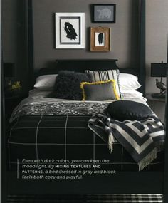Cool asymmetric bedroom - dark colours but inviting all the same :-)