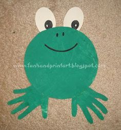 This Handprint Frog was fun to make! I gave my toddler a piece of paper and green paint which he happily spread all over the paper. When it finished drying, I drew a circle on it by tracing a bowl (anything circular would work) and both of his hands. I cut out the shapes along with 2 white ovals for the eyes and then glued it all together. All that's left is drawing on the facial features with a black marker.
