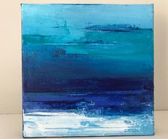 Mini seascape. Acrylic on canvas. abstract canvas. seascape. Blue Teal White Contemporary art. Wall art. Original art. by 75Interiors on Etsy
