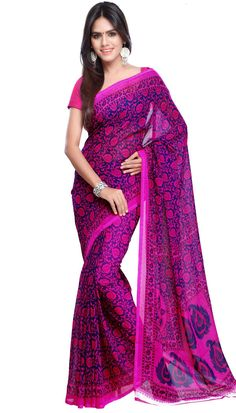 Poly Georgette Pink Beautiful Printed Saree With Unstitch Blouse
