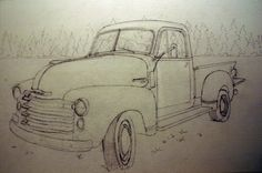 Truck Pencil Drawings | Old Chevy Truck Pencil Drawings Sketch of Old Chevy…