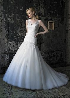 Glamorous Satin & Organza & Tulle A-line Sweetheart Neckline Wedding Dress With Cap Sleeves W2075 $385.91