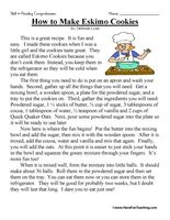 How to Make Eskimo Cookies – Third Grade Reading Comprehension Test ...