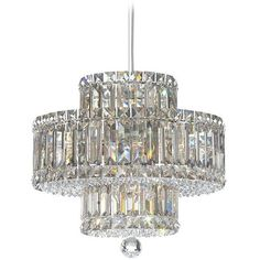 Schonbek Plaza Collection 9-Light Crystal Pendant Chandelier (2,495 CAD) ❤ liked on Polyvore featuring home, lighting, ceiling lights, chandeliers, square lamp, swarovski crystal lighting, geometric lamp, schonbek lighting and rectangular chandelier lighting