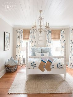 True Blue Home Texas - Open house photos & Favorite things - Holly Mathis Interiors English Farmhouse Spindle Bed CURTAINS! Spindle Bed, Attic Bedroom Designs, Christmas Bedroom, Up House, Farmhouse Interior, White Bedroom, Beautiful Bedrooms, Bedroom Decor, Bedroom Ideas