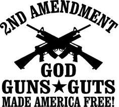 2nd Amendment God Guns Guts window decal