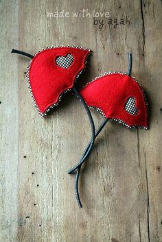 Red Umbrella Brooch Set Of Two. $24.00, via Etsy.