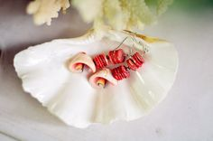 Tinny Red Rosa Earings, Seashell and Red coral earings, beach wedding, seashell and Coral accessories.  This earing lenght 3,15 inches. Perfect jewelry is created conches and red coral pieces so rare, hight aquality. I was cut, honed them very carefully.