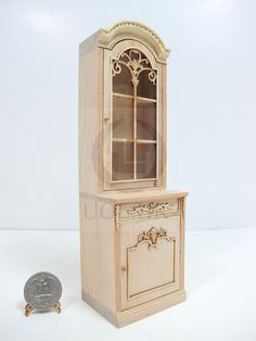 Miniature 1:12 Scale French Provincial Left Opened Display Cabinet For Doll House [Unfinished]