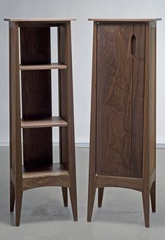 display case and storage case - black walnut and Brusso stainless hardware - Eben Blaney Furniture