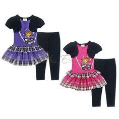 Girl Kid Princess Dora Tutu Top Dress+Leggings Pants Set Costume Outfit SZ 4-7 Y