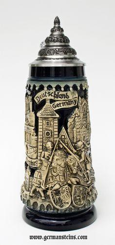 Beer Steins By King - Deutschland Germany Kight beer mug stone grey German Beer Steins, Beer Mugs, Craft Beer, Knights, Drink, Beer Cellar, German Oktoberfest, Beer 101, Brandenburg Gate