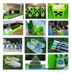 Like the idea of the creeper heads and arrows game.The ultimate Minecraft Party planner . Minecraft games and more . Minecraft Birthday Party, 10th Birthday Parties, Birthday Party Themes, 7th Birthday, Birthday Ideas, Mindcraft Party, Video Game Party, Halloween, Party Time