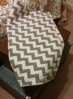 Vintage Manetta Mills Gray Ivory Chevron Zig Zag Throw Blanket 66x57 5 | eBay
