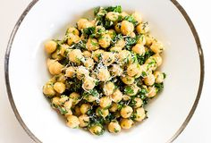 Chopped kale, chickpea and parsley salad. Add fresh-squeezed lemon, olive oil and garlic for a meal you'll want to eat every day!