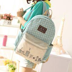 Cute College Wind dot schoolbag