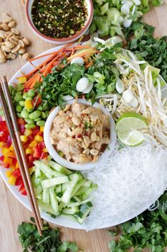 Vietnamese Glass Noodle Salad with Peanut Butter Chicken