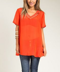 Loving this Orange Cutout Studded V-Neck Top - Plus on #zulily! #zulilyfinds