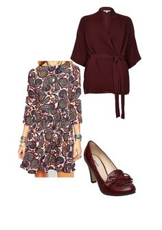 River Island Brown Short Belted Kimono Jacket http://www.riverisland.com/women/tops/kimonos/brown-short-belted-kimono-jacket-673375  ASOS Glamorous Skater Dress in Paisley Print http://www.asos.com/Glamorous/Glamorous-Skater-Dress-in-Paisley-Print/Prod/pgeproduct.aspx?iid=5578682&cid=2623&sh=0&pge=1&pgesize=204&sort=-1&clr=Multi&totalstyles=371&gridsize=3  Dune Asterix D Leather Loafer court Shoes