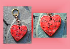 "Ceramic Pendant, Love Pendant, Love Quotes, Valentine Pendant, Red Heart, Heart Love Keychain, Purse Accessory, Brass Metal Keychain. Large handmade Ceramic Cherry Red Heart with the love quote: ""When I Found You, I Found Myself"" a perfect accessory to hang on your purse, knapsack or use as a key chain. Also a great gift for a loved one! I created this big heart from high fire white clay 2000F+, words are hand carved, then fired in the kiln. Double glazed, then fired once again to create…"