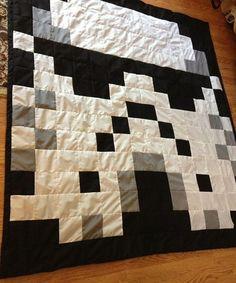 Star Wars Quilt Pattern   Star Wars Stormtrooper Pixel Geek Quilt by FussButtons on Etsy, $150 ...
