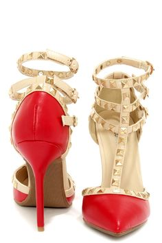195fc6980 Wild Diva Lounge Adora 55 Red Studded T-Strap Pointed Heels