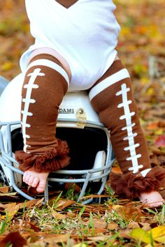 Football Pettileg Ruffled Legwarmers w/ Brown Chiffon by karigirl, $12.00