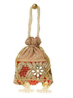 Golden Mirror Work Potli In Red  #Ekatrra #Clutch #Handbag #Purse #Traditional #Fashionable #Fashion #Stylish #Stylist #Accessories #Stepintostyle #Couture #Stepintoawesome #Follow #Gift #Onlineshopping #Womenshopping Shop Now: http://bit.ly/1QgxVl3