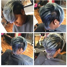 STYLIST FEATURE| Gorgeous charcol gray and purple pixie cut done by #ChicagoStylist @keladru✂️✂️✂️ Color done by @Fetishbeautybar  |Use #VoiceOfHair to be featured! ========================= Go to VoiceOfHair.com ========================= Find hairstyles and hair tips! =========================